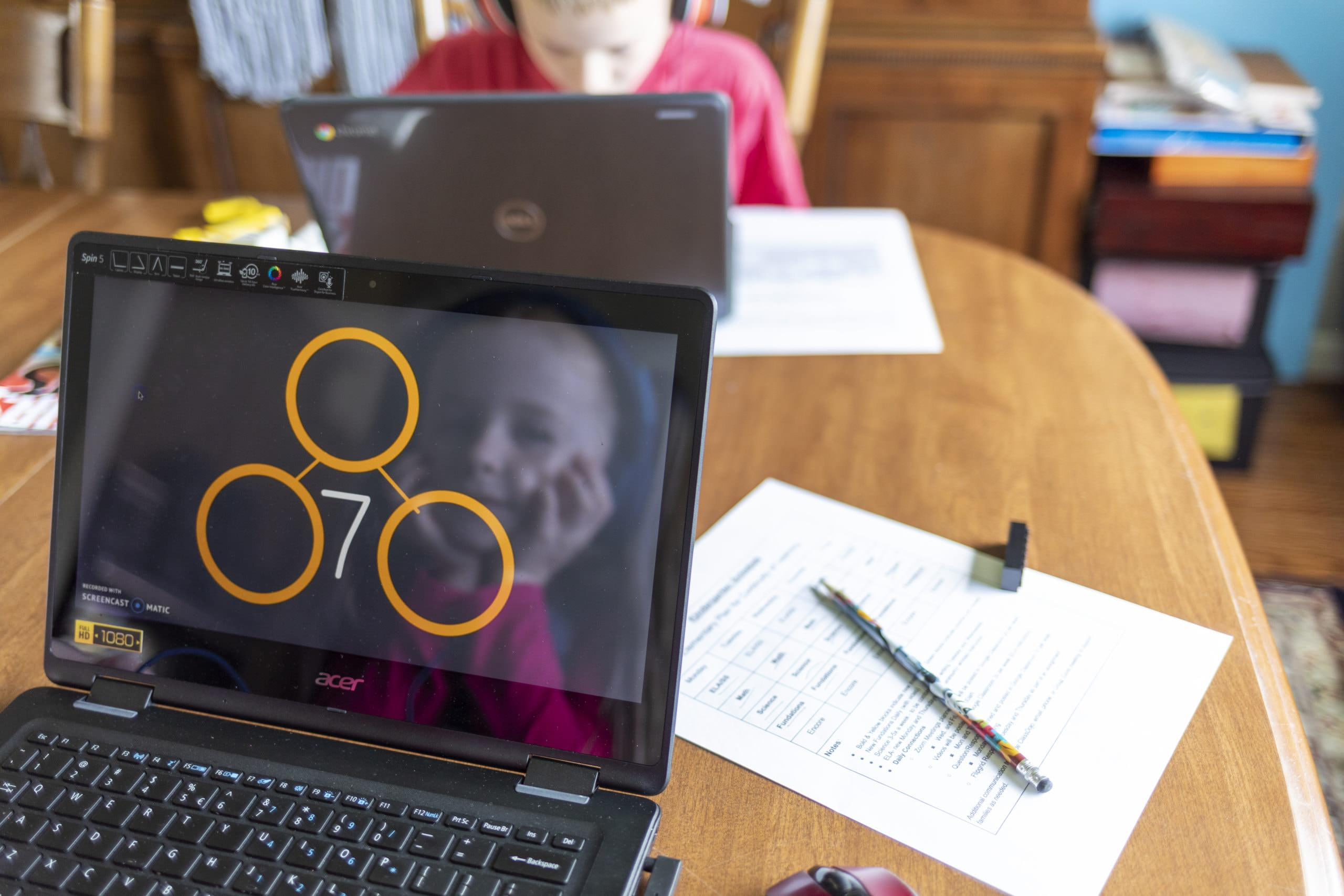 Home schooling, Google classroom. Kids learning at home.